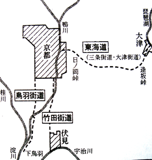 車石敷設三街道地図